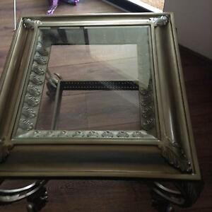 Glass and metal coffee and lamp table Meadow Springs Mandurah Area Preview
