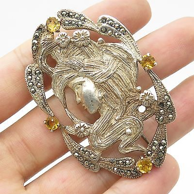 Vtg 925 Sterling Siver Real Citrine Marcasite Gemstone Vitorian Woman Pin Brooch