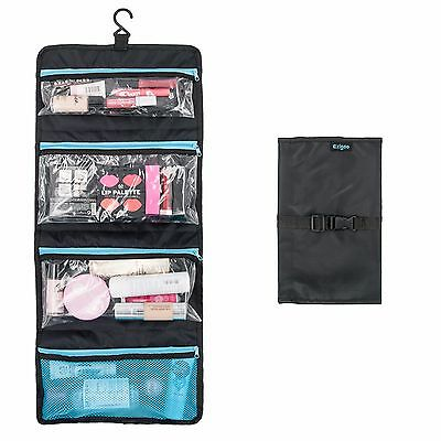 Ezigoo Hanging Wash Bag Foldable Hanging Toiletry Bag Black Travel Wash Bag