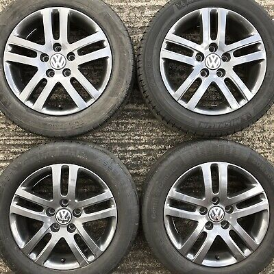 Genuine VW Jetta Atlanta Golf 16 Alloy Wheels Tyre 205 55 Caddy Van Bioline GREY