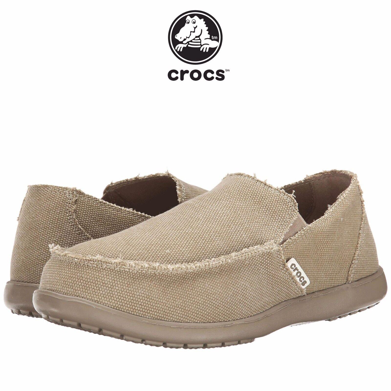 Mens Crocs Santa Cruz Fashion Loafer Khaki Canvas Casual Beach All SZs NIB