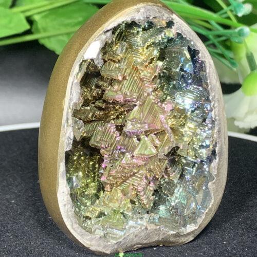 Rainbow Bismuth mineral eggs Quartz Crystal geode Specimen Reiki Healing 1pc D