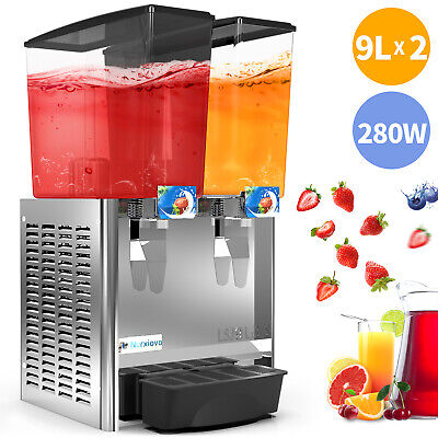 2-tank Juice Beverage Dispenser Commercial Cold Drink W Thermostat Controller