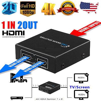 HDMI Splitter 1 in 2 out 4K 1080p 3D 1x2 HDCP Splitter Amplifier Repeater Switch