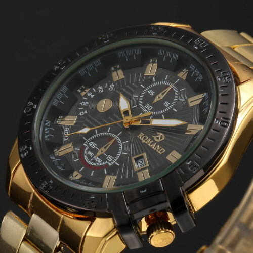 Luxus Herren GOLD Edelstahl Armband Sport Analog Quartz Armbanduhr mit Datum NEU
