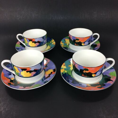 D&F Natural Blue Coffee Cup and Saucer Set of 4 (Blue)