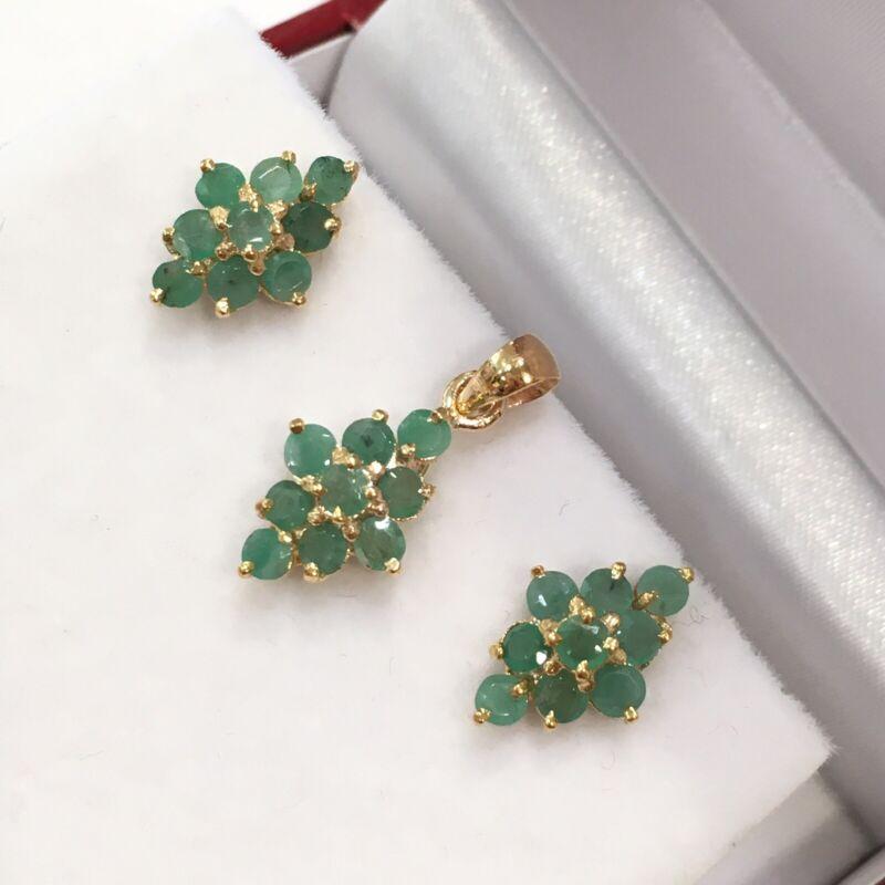 14k Solid Gold Cluster Stud Earrings &Pendant Set, Natural Emerald 3.20 Grams
