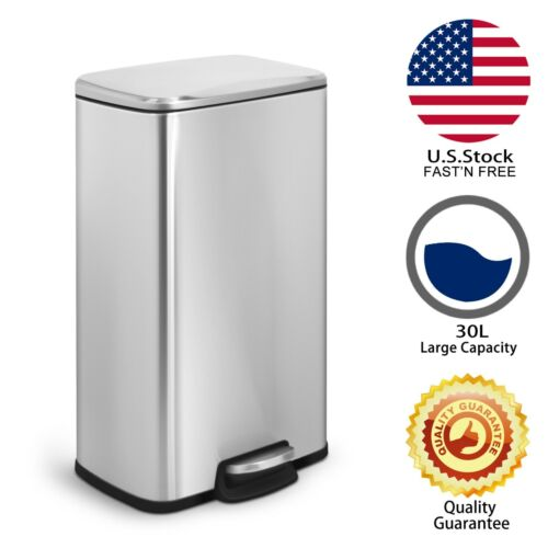Innovaze 8 Gal./ 30 L Rectangular Stainless Steel Trash Can Kitchen /Living room