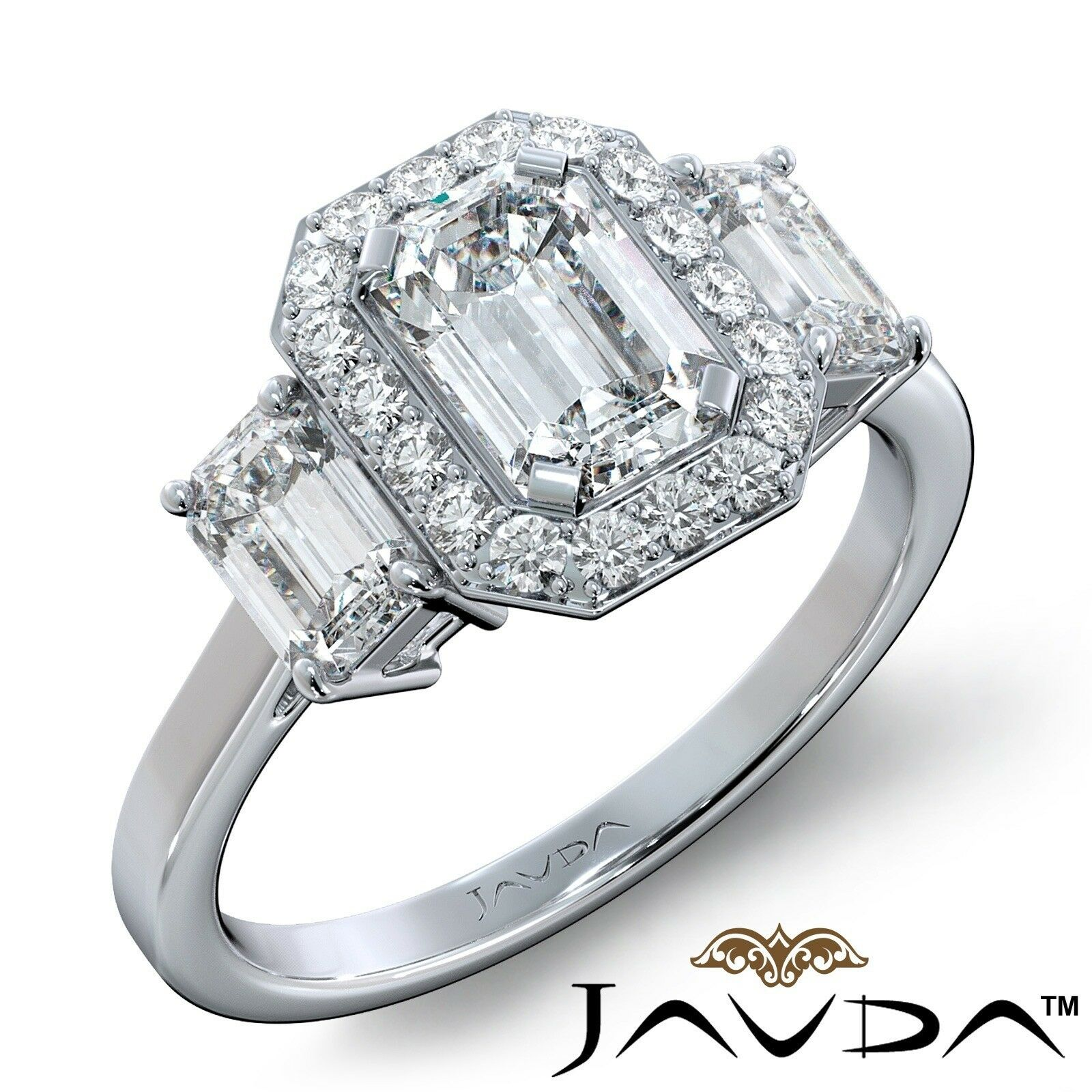 1.55ctw 3 Stone Halo Pave Emerald Diamond Engagement Ring GIA F-SI2 White Gold