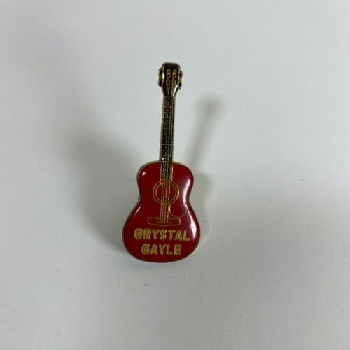 Crystal Gayle Red Acoustic Guitar Lapel Pin Badge Vintage Rare Country Music