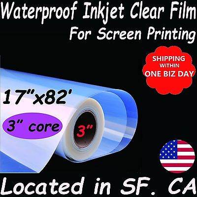 17 X 82 Waterproof Transparency Inkjet Film For Epson T3270 7800 Printer
