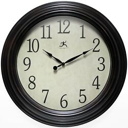 Classic Indoor 24 inch Brown Decorative Large Easy to Read Wall Clock