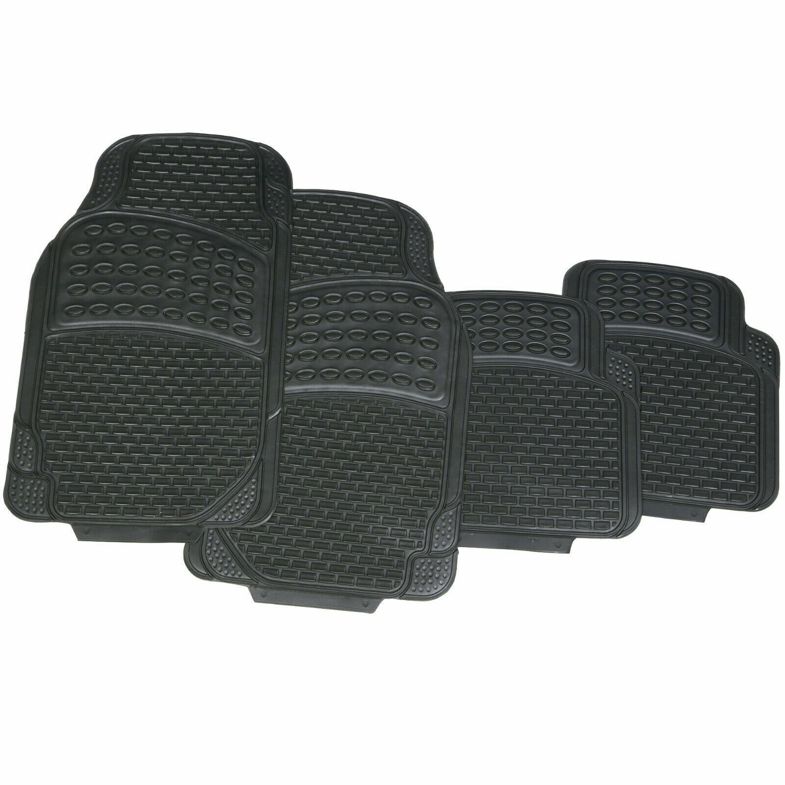 Car Parts - 4 PCS CAR MATS RUBBER BLACK UNIVERSAL FIT HEAVY DUTY NON SLIP WATERPROOF VAN