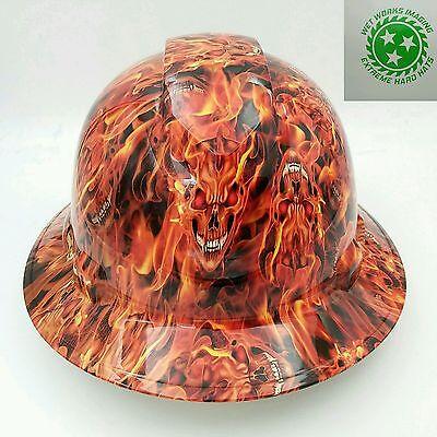 Hard Hat Custom Hydro Dipped Osha Approved Full Brim Inferno Hell Raiser