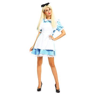 Alice Wonderland Costumes (Womens Alice in Wonderland Maid Lolita Costume Book Week Cosplay Fancy)