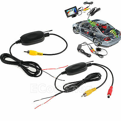 2.4G Wireless Rear View Video Transmitter Receiver Backup Camera Car Kit RCA 12V