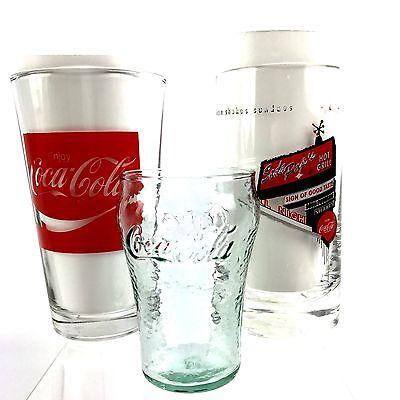 "Mixed Lot Coca Cola Glasses 6"" Tall Graphic, Green Mini Glass 3 3/4""Tall VTG"