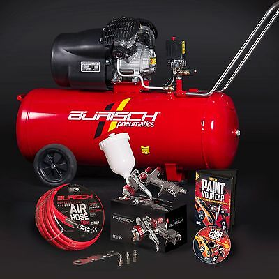 Air Compressor 100L + LVLP Spray Gun + 10m Air Hose + paint car DVD Burisch