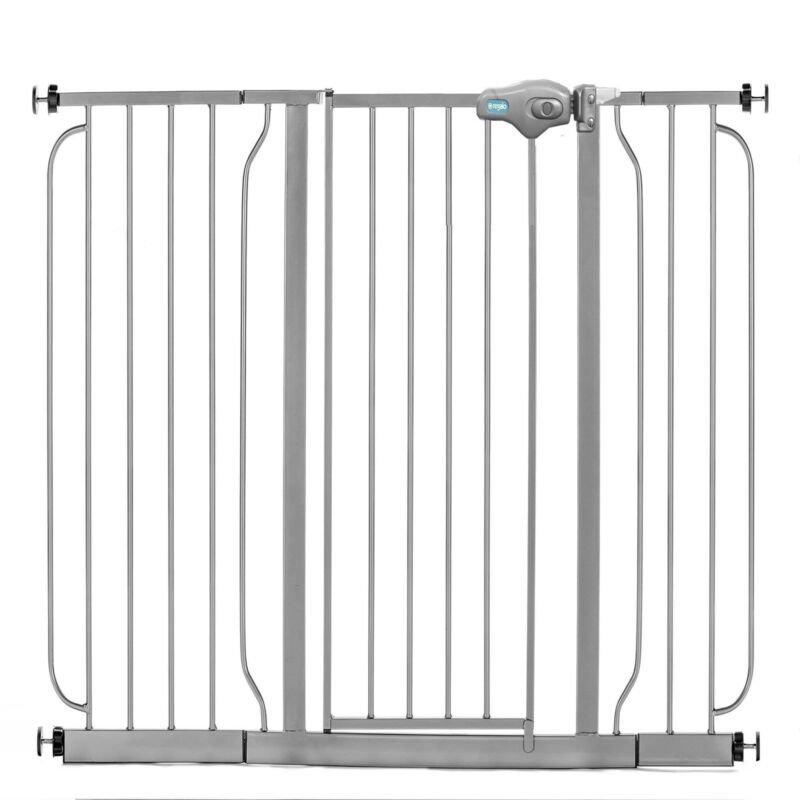 Regalo 49 Inch Easy Step Extra Wide Walk Thru Baby and Pet Safety Gate, Platinum