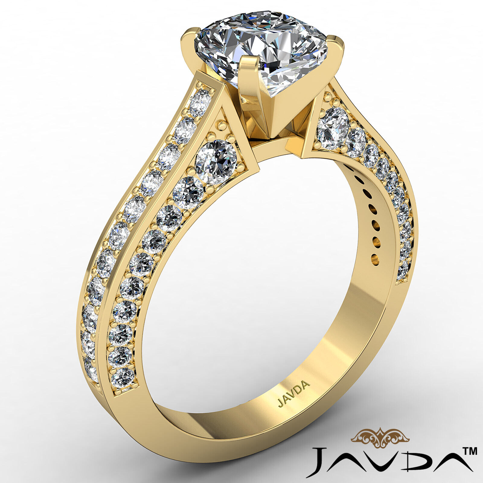 Cushion Diamond Engagement Pave Set Ring GIA J Color & VS2 clarity 1.82ctw 4