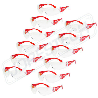Jorestech Vision Red Frame Clear Lens Safety Glasses Sunglasses Z87 12pack