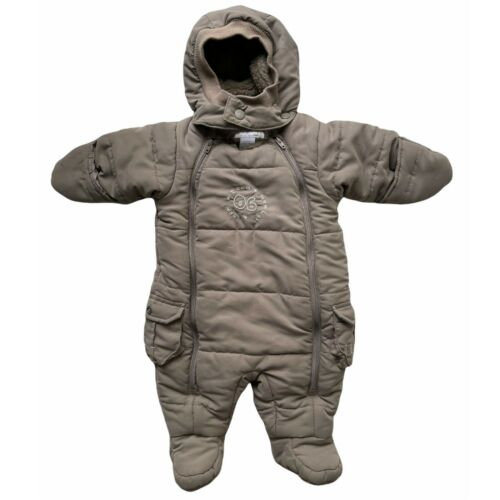 H&M Baby 1-2M Puffer Suit Gray Hooded Footed 1-Piece Easy Access Winter Snowsuit