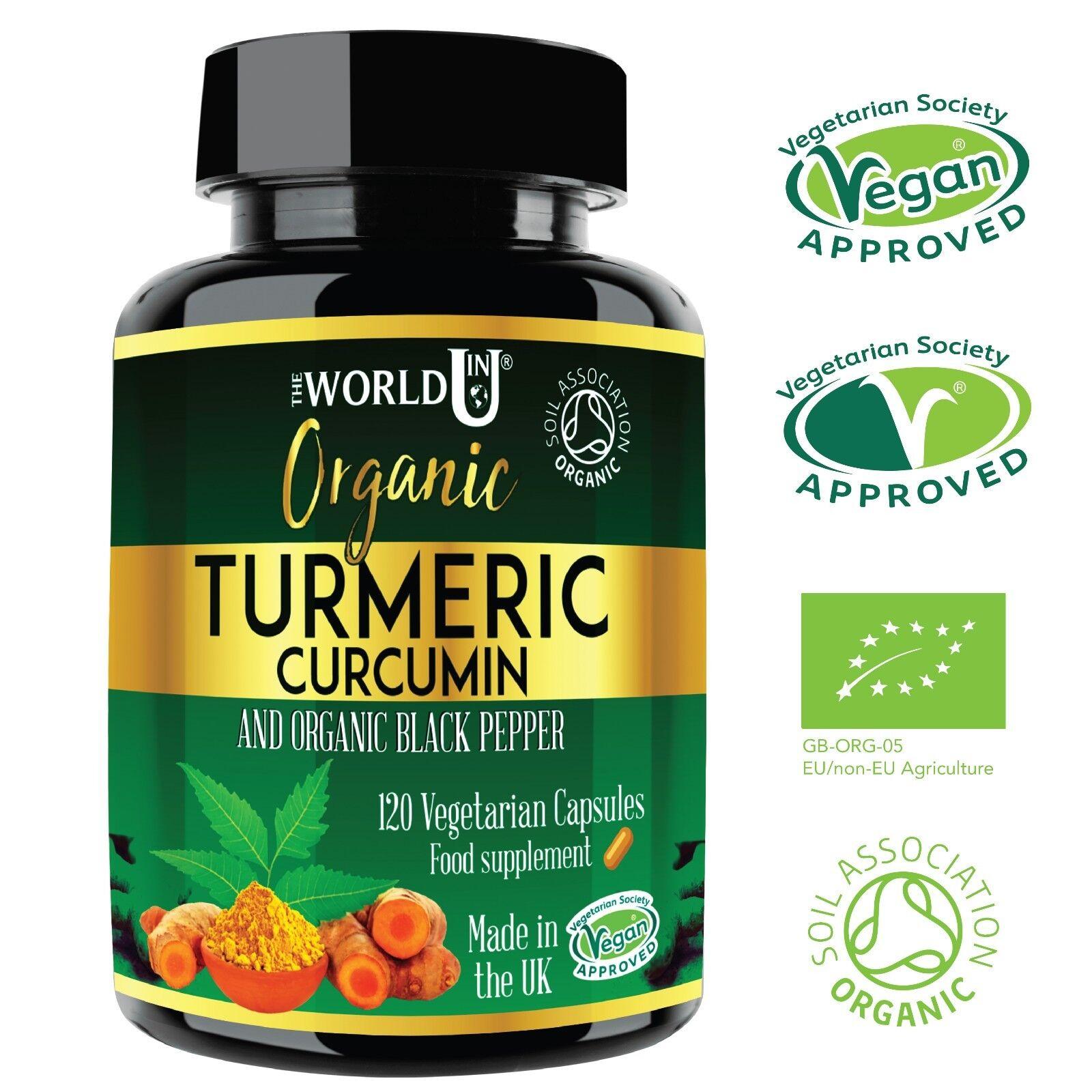 ORGANIC Turmeric Curcumin 4 MONTHS SUPPLY 120 Capsules +Black Pepper Tumeric NEW