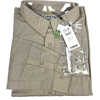 df4afce7409 3XL Tactical Shirt Long Sleeve Hunting Hiking Vented Ripstop Water  Resistant Tan