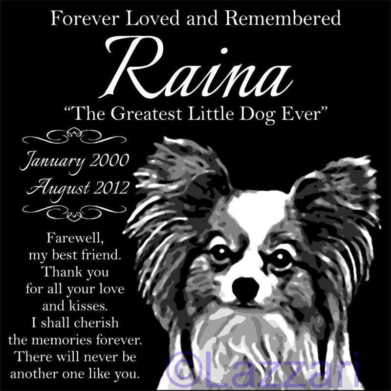 "Personalized Papillon Dog Pet Memorial 12""x12"" Engraved Granite Grave Marker"