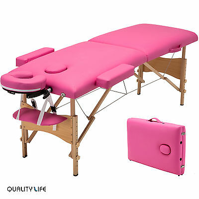 """Pink 84""""L Fold Portable Massage Table Tattoo Facial SPA Beauty Bed Carry Case"""
