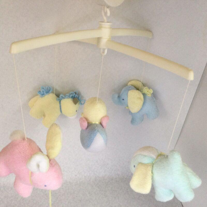 Vintage BANTAM Musical Mobile Baby Crib - Pastel Colors - Elephant Duck Rabbit
