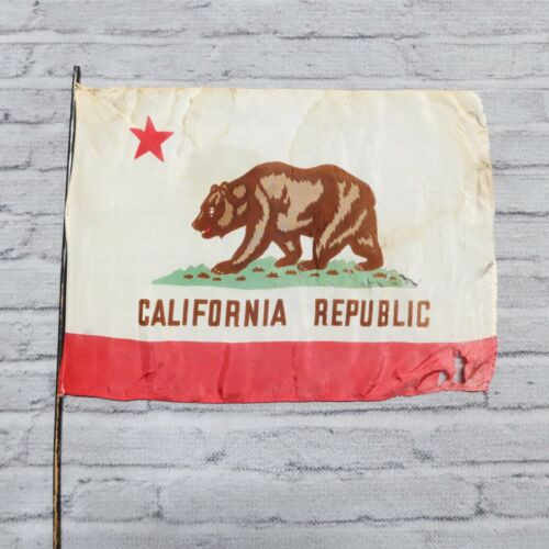 Vintage California Republic Bear State Flag 21 x 15 1/2 Antique Silk