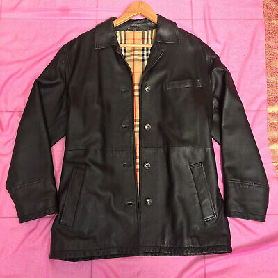 Vintage Nova Check Burberry Black Leather Jacket size 42 XL