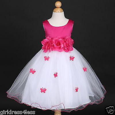 Fuchsia Hot Pink Pageant Formal Wedding Flower Girl Dress 6M 12M 18M 2 4 6 8 - Flower Girl Dresses Hot Pink