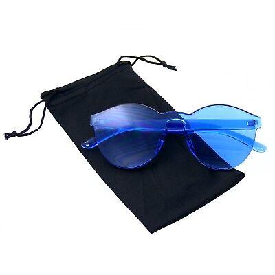 Mono Block Rimless PC Color Tone Lens Sunglasses Eyewear (Colored Translucent Glasses)