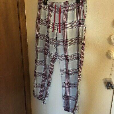 Silver And Red Plaid Christmas Pajamas Pants Size 8-10/M