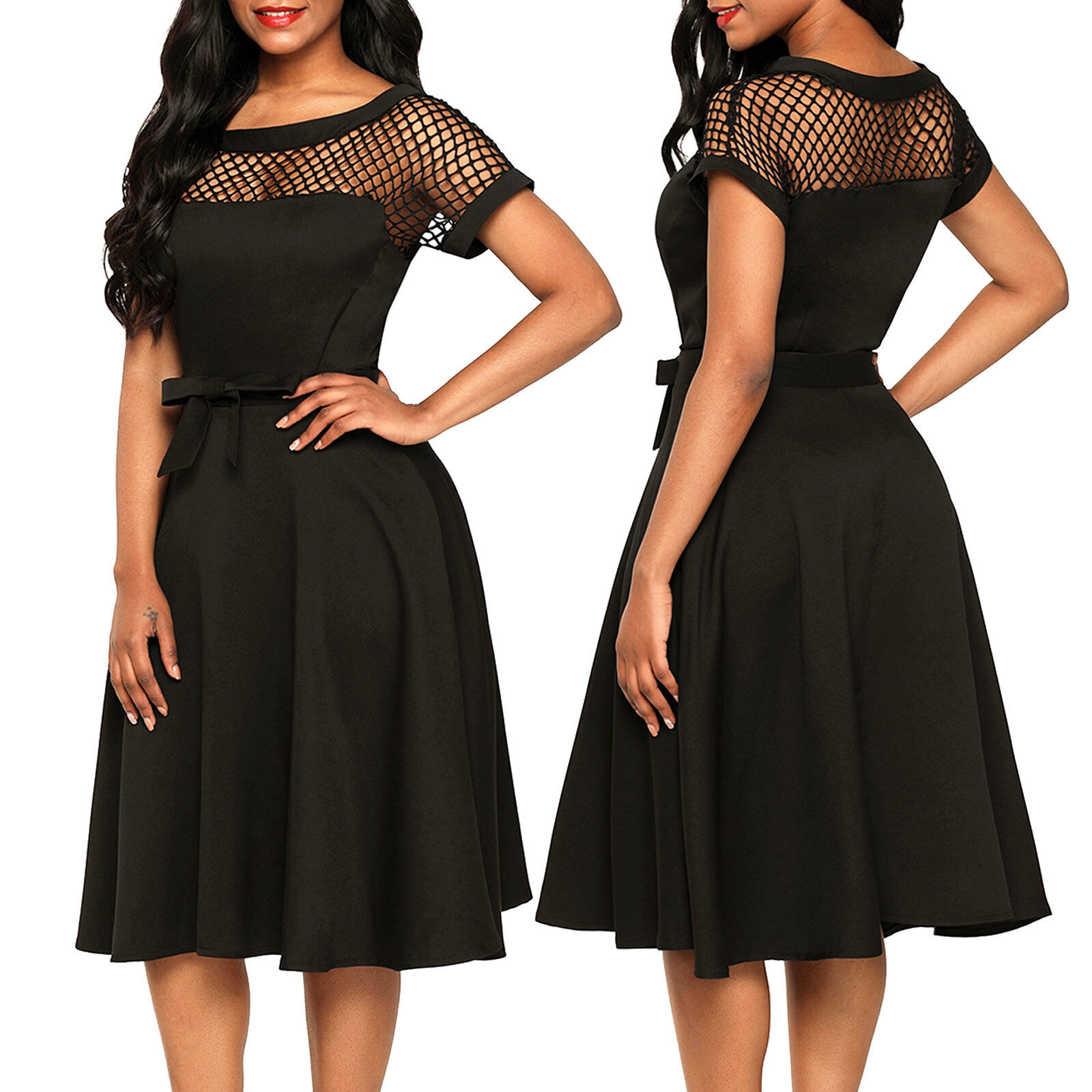9e7466d2164b Vestito donna abito mini abito rete skater elegante svasato cerimonia