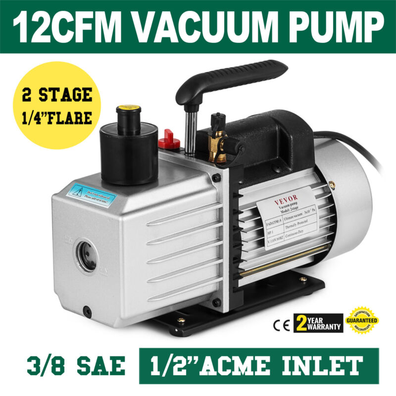 8CFM Two-Stage Rotary Vane Vacuum Pump Heavy-Duty 15Micron 1HP 500ML Capacity