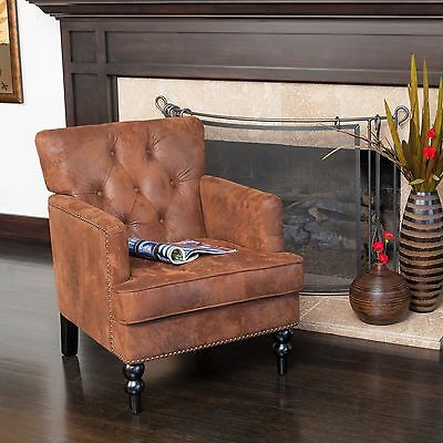 Elegant Design Tufted Brown Fabric Upholstered Arm Chair w/ Nailhead Accents