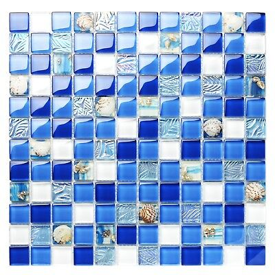 Blue Tile Design - Art Mosaic Sea Blue Tile Beach House Wall Design Glass Backsplash Decor TSTNB07