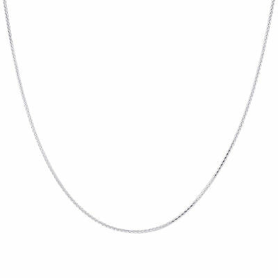 Sterling Silver 1mm Rhoidum Plated Spiga Wheat Chain Necklace(14
