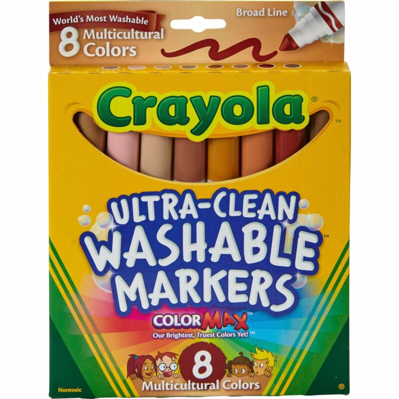 Crayola Multicultural Markers, Washable Broad Line Markers, 8 Count