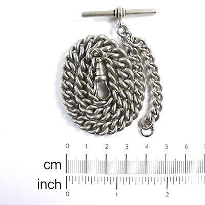 NCR Co ALBO Antique White Metal Albert Pocket Watch Chain, T Bar & Dog Clip 35g
