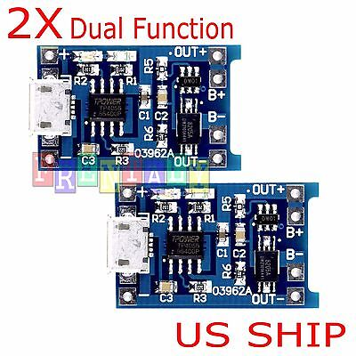 2pcs 5V 1A Micro USB 18650 Lithium Battery TP4056 Charging Board Charger Module