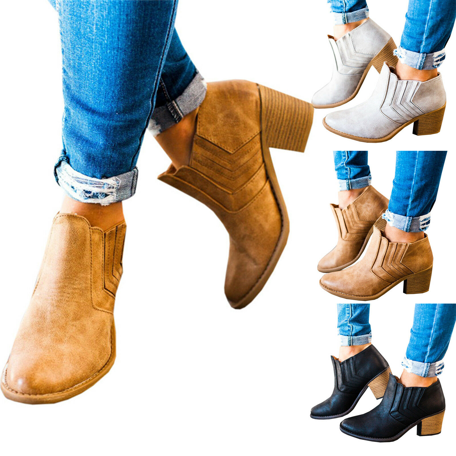 Women Slip On  Ankle Boots Ladies Casual Mid Block Heel Chunky Booties Shoe Size 1