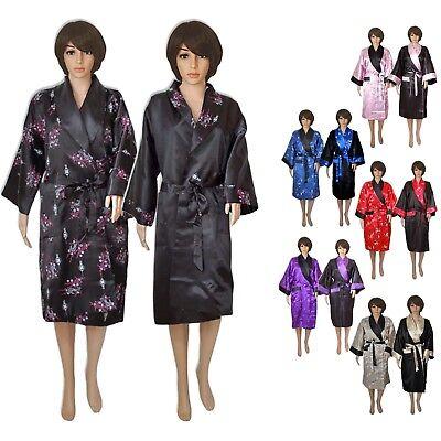 Kimono Damen Herren lang Morgenmantel schwarz lila blau rosa rot creme asiatisch