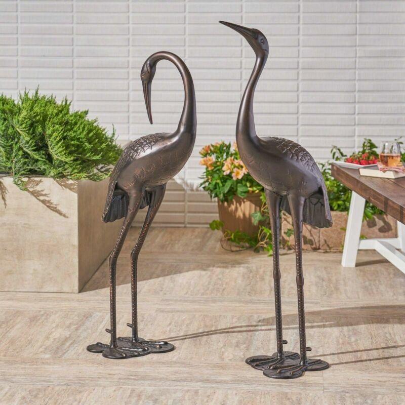 Mark Outdoor Dark Bronze Aluminum Crane/Heron Statues (Set of 2)