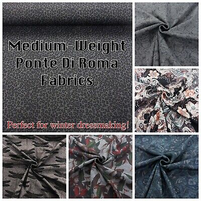 Patterned Ponte Di Roma Warm Stretch Knit Jersey Winter Dressmaking Fabric