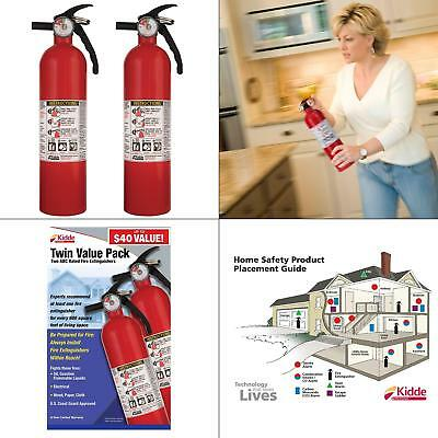 Set Of 2 Recreational Fire Extinguisher 1-a10-bc Common Fires Home Safety Fire