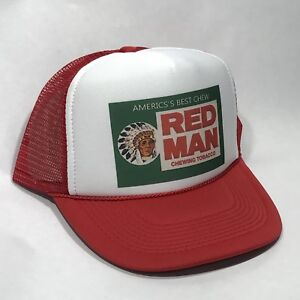 cfee04b4204 Red Man Tobacco Trucker Hat Old Chew Pouch Logo! Vintage Snapback Cap! Red